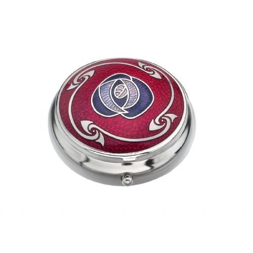 Pill Box Silver Plated Mackintosh Rose and Knots Red Brand New and Boxed